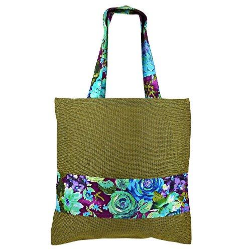 Multipurpose Grand Sac de shopping, de couleur jute, de fibres naturelles Eco-frienly, non tissé doublure intérieure, Easy Care lavable,