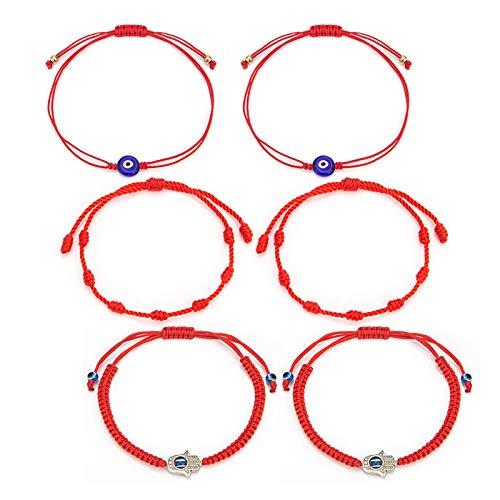 6 Pieces Adjustable Red Bracelet Kabbalah 7 Knots