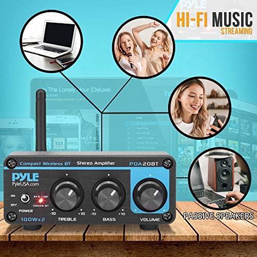 Bluetooth HiFi Mini Audio Amplifier – Class D Digital Desktop PC Stereo Amplifier Receiver (2 x 100 Watt MAX) Aluminum Diecast- Pyle PDA20BT 51oc6b0mikL