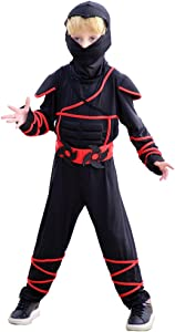 Meeyou Stealth Ninja Costume for Boys/Girls Role Play (Small, Black)