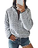 Yidarton Womens Fuzzy Fleece Pullover Casual Zip Up Fluffy Sweatshirt Long Sleeve Stand Collar Cozy Coat Tops with Pockets (2-Gray, M)