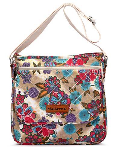 Malirona Canvas Messenger Bag Cross Body Purse Women Travel Purse Shoulder Satchel Floral Pattern (Plum Flower) (Pattern Bag Crossbody)