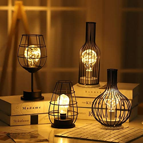 Rétro Lampe de Table Géométrique Fil Industriel Lampe DEL Ampoule de chevet bureau Lumières