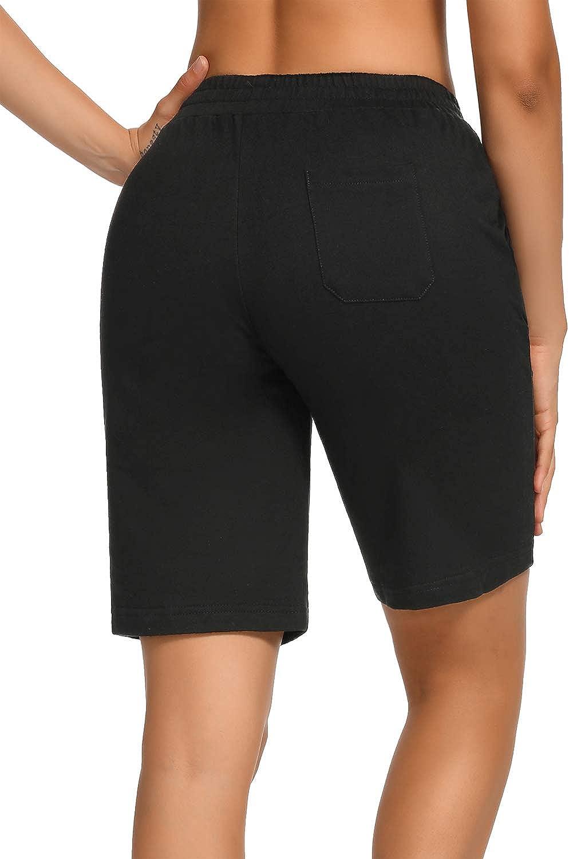 SEVEGO Womens 10 Inseam Cotton Bermuda Shorts with 3 Pockets Activewear Knit Lounge Pamaja Jersey Walking Shorts