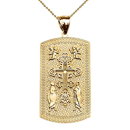 Russian Orthodox Cross 10k Yellow Gold Engraveable Dog Tag Pendant Necklace 22