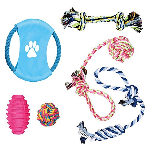 Dog Chew Toys - Puppy Teething Toys - Dog Toy Set - Puppy Toys - Medium and Small Dog Toys - Chew Toys for Dogs - Dog Toy Pack - Cotton Rope for Dogs - Puppy Chew Toys(6 pack)