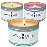 Wax and Oils Soy Wax Aromatherapy Scented Candles (Lavender, Sandalwood, Peppermint Eucalyptus) 8 Ounces. 3 Pack