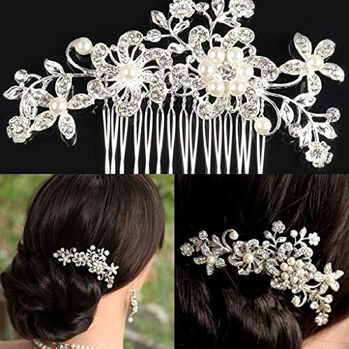 Crystal Hair Accessories Clips Comb Pearls pins Grip Diamante Hair Band Long Headwear Fashion Simple Temperament Hair Band ()