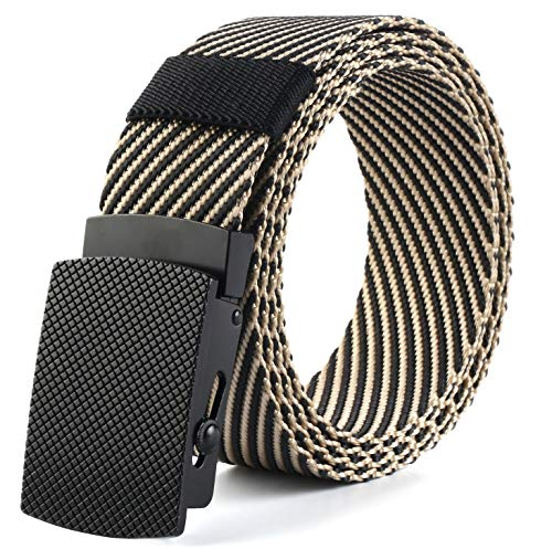 (Nylon webbing belt, Military Tactical Outdoor travel-metal buckle for men or women,51 inches-long, 1.38 inch-wide, Stripe Black Apricot)
