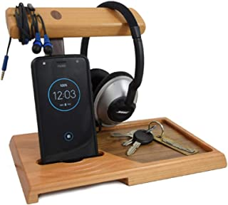 product image for American Cherry Wood Valet Tray with Headphone Stand and Acoustic Phone Amplifier