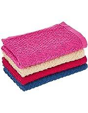 Princes PRNC_WASH_CLTH_4 DEYARCO Terry Wash Cloth 4 Pieces Set, Size 30 x 30 cm Super Soft Quick Dry Highly Absorbent, Cotton, Single, Multi-Colour, W 16.0 x H 4.0 x D 16.0 cm