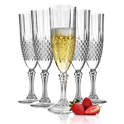 Plastic Champagne Flutes - 48 Pcs Disposable Fancy Crystal Cut Clear Champagne Glasses - 8 oz Unbreakable Elegant Party Drinking Cocktail Wine Glass for Weddings, Mardi Gras, Birthday & All Occasions