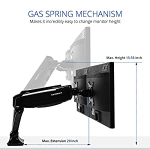 "Loctek D5D Dual Monitor Mount LCD arm,Full Motion Desk mounts for 10""-27"" Computer Monitor, /w Gas Spring Monitor arm and Clamp or Grommet Desktop Support"