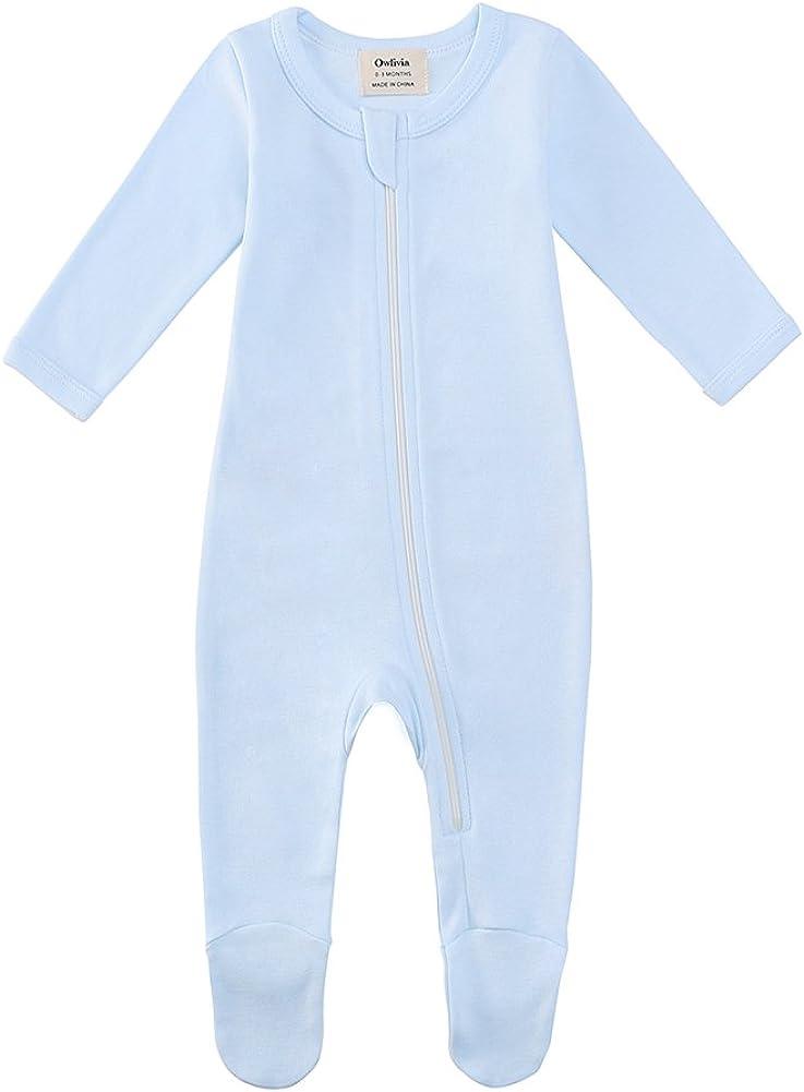 Owlivia Organic Cotton Baby Boy Girl Zip Front Sleep N Play Footed Sleeper Long Sleeve