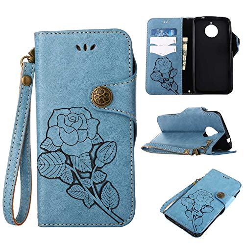 Moto E4 Plus Protective Case, UNEXTATI Vintage Rose Pattern Stand PU Leather Flip Cover, Wallet Case Cover with Hand Strap for Moto E4 Plus (Blue)