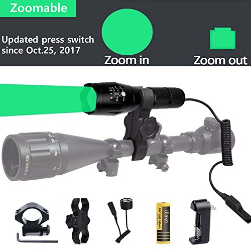 Ulako Green Light 300 Yards Spotlight Flood Light Zoomable Tactical Hunting Flashlight Torch for Hog Pig Coyote Varmint Predator Rifle