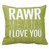 SIXSTARS Square Cotton Throw Pillow Case Decor Cushion Covers Dinosaur Rawr Pillowcase In Blue With Grey Chevron (18x18inch)