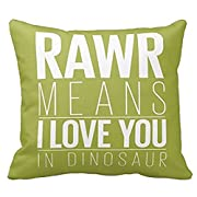 SIXSTARS Square Cotton Throw Pillow Case Decor Cushion Covers Dinosaur Rawr Pillowcase In Blue With Grey Chevron (18x18inch)
