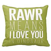 SIXSTARS Square Cotton Throw Pillow Case Decor Cushion Covers Dinosaur Rawr P...