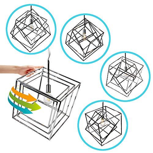 (Wereal Geometric Light Metal Chrome Cage Pendant Lighting Light Fixture 1-Light Industrial Modern Lighting Fixture for Kitchen, Living Room,)