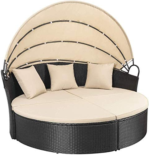 picture of Homall Patio Furniture Outdoor Daybed - Retractable Canopy Wicker Furniture
