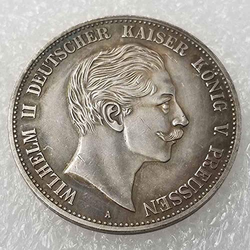 NiuChong Antique German Liberty Old Uncirculated Coin- Prussia 5 Mark-William II 1888 Old Coins-Great German Old Coins-Discover History of Coins Love it