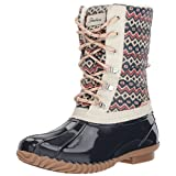 Skechers Women's Hampshire-Printed Quilted Snow Boot, Navy Natural, 9 M US
