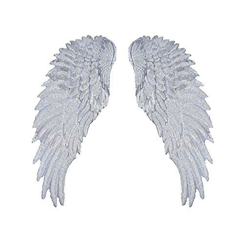 1Pair Fashion Gold/Silver Angel Wings Sequins Patches For Clothing Iron-on Embroidered Patch Motif Applique DIY XMAS Accessories(5.5X12inch) ()