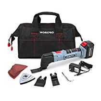 WORKPRO Oscillating Multi-Tool 20V Lithium-Ion Cordless with LED Variable Speed Universal Fit, 19-Piece Blades and Accessories Kit