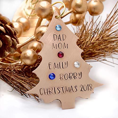 Personalized Bronze Christmas Tree Ornament with Birthstones, Metal Tree Ornament - Custom Ornament