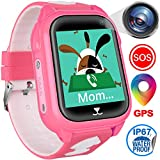 Kids Smart Watches Phone with GPS Locator Pedometer Waterproof IP67 Fitness Tracker Call SOS Voice Chat Camera Alarm Learning Games Smartwatch Toy Christmas Birthday Gifts for Kid Boys Girls Age 4-12