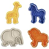 SUNJAS 4tlg Tier Löwe Elefant Giraffe Zebras Ausstecher Ausstechform Keks Plätzchen Torten Fondant Kuchen Marzipan Backen Stempel Set Kit Deko mit Auswerfer
