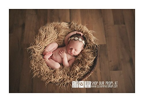 Hypoallergenic washable hay tan long sheep faux flokati fur newborn photo props artificial fur newborn baby photography props basket stuffer blanket
