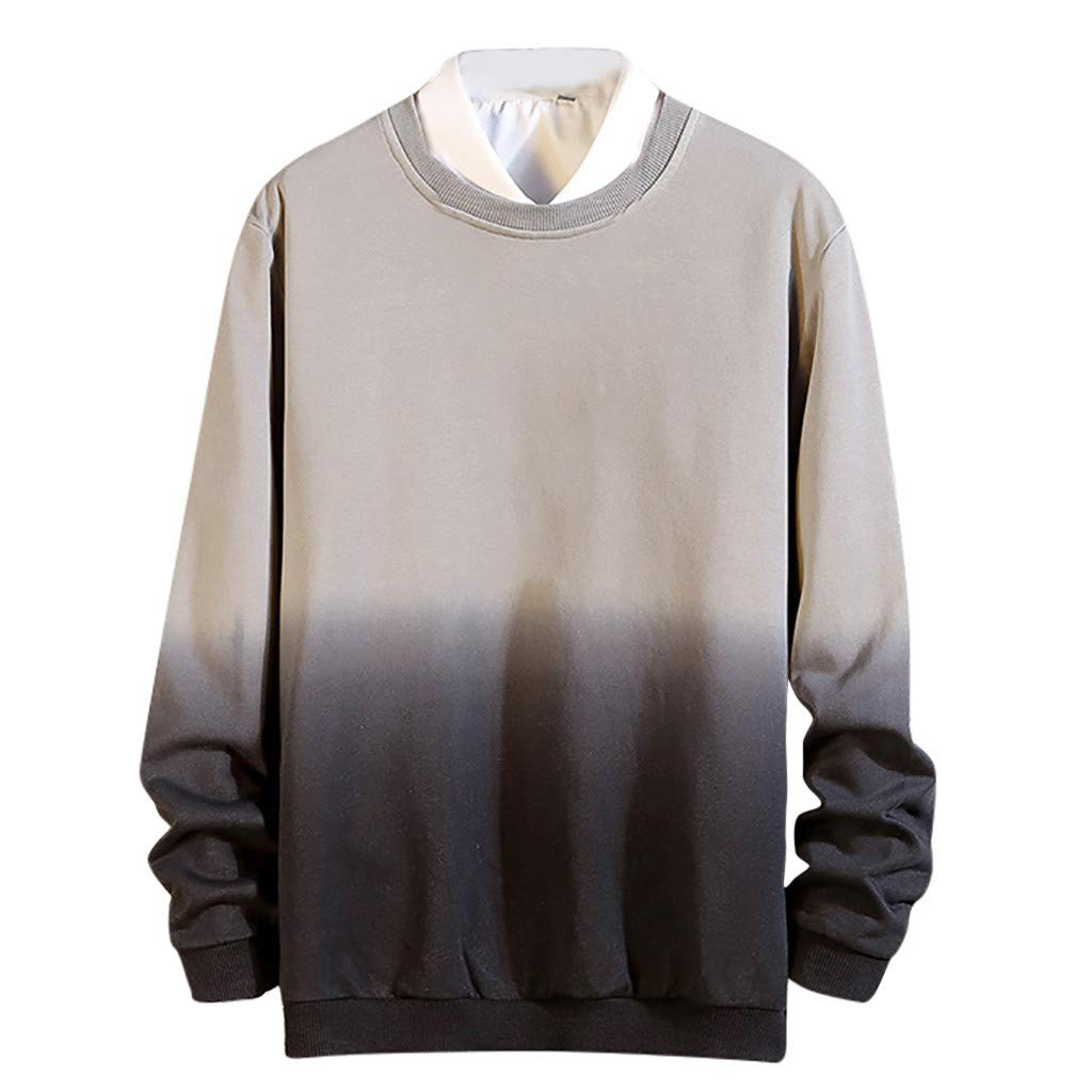 FEDULK Plus Size Men's Shirt Gradually Coloured O Neck Long Sleeve Pullover Blouse Tops m-5xl(Gray, XXX-Large) by FEDULK