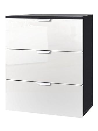 Express Möbel Nachtkonsole Mit Drei Schubladen Weiß Hochglanz Lack, Korpus  Graphit Nachbildung, BxHxT 50x61x42