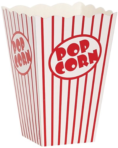 Movie Theater Red and White Striped Popcorn Boxes 10ct