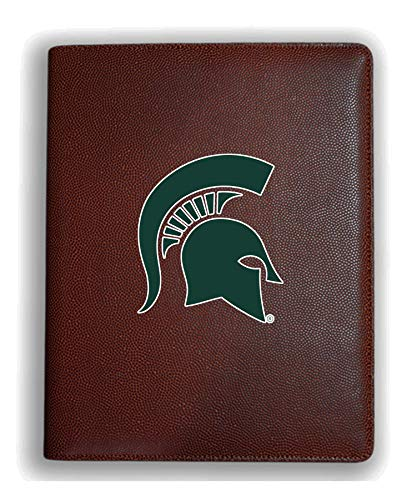 Zumer Sport Michigan State Spartans Football Leather Portfolio Padfolio Notebook Planner Pad - Made from Actual Football Materials - Brown ()