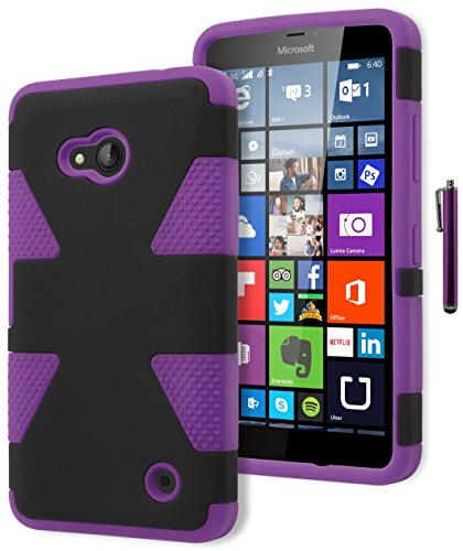 Lumia 640 Phone Case, Bastex Hybrid Soft Purple Silicone Cover Hard Black Dynamic Design Case for Microsoft Nokia Lumia 640INCLUDES STYLUS