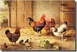 ''Chickens in a Barnyard'' by Edgar Hunt - Ceramic Tile Mural 17'' x 25.5'' Kitchen Backsplash