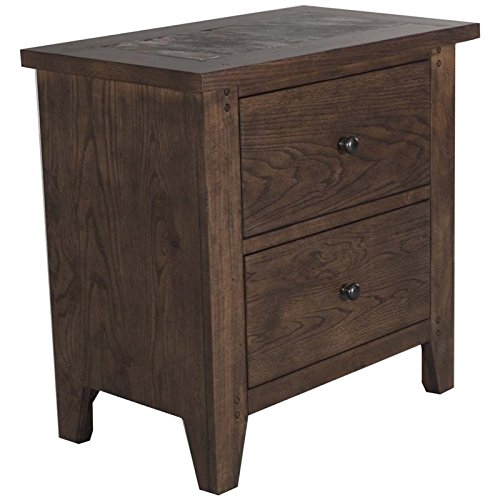 Liberty Furniture Hearthstone Bedroom 2-Drawer Slate Night Stand, Rustic Oak Finish