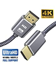 Cable HDMI 4K 2M SUCESO Cable HDMI 2.0 de Alta Velocidad Trenzado de Nailon Ultra HD 4K a 60Hz a 18Gbps Soporta con Video 4K UHD 2160p,HD 1080p,3D,Ethernet,Xbox 360,BLU-Ray PS3 PS4 ARC HDCP 2.2-Gris