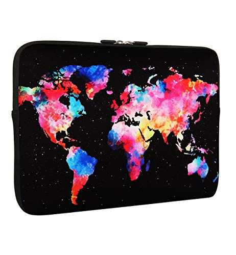 World Map Laptop Sleeve Bag 13-13.3 Inch, Water Repellent Neoprene Light Weight Computer Skin Bag, Notebook Carrying Case Cover Bags