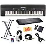 : Korg KROME 88-Key Music Workstation Keyboard & Synthesizer Bundle with Keyboard Stand, SD Card, USB Cable, Instrument Cable, Dust Cover, Sustain Pedal, Headphones and Polishing Cloth