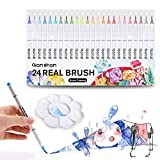 qianshan Professional Watercolor Pens 24 Soft Flexible Tips for Adult Coloring Books Painting Drawing Manga Sketching Real Brush Markers with Palette