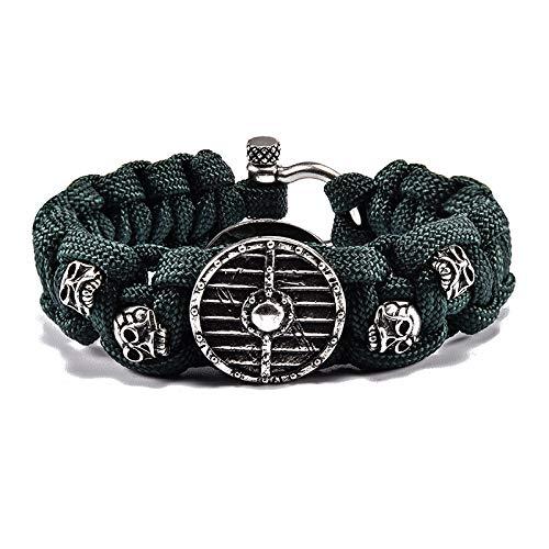 Bronze Shields Skeleton Heads Lifeguard Weave Bracelet | Men Charm Outdoors Survival Rope Bracelet ()