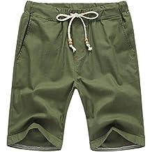 GoodLock Clearance! Men Summer Linen Cotton Solid Beach Shorts Casual Elastic Waist Classic Fit Shorts