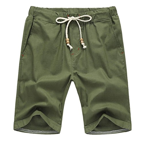 (GoodLock Clearance! Men Summer Linen Cotton Solid Beach Shorts Casual Elastic Waist Classic Fit Shorts (Green, Large))