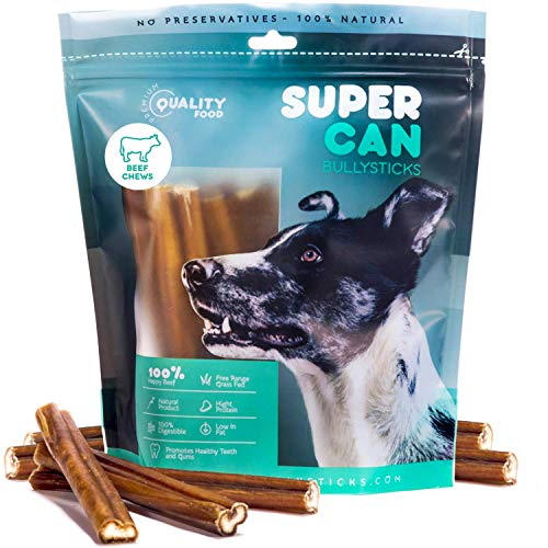 6-inch Prime Bully Sticks [ 25 Pack ] by Super CAN Bully Sticks, Premium 100% Natural Dog Treats from The Finest Free Range Grass Fed Beef. Dogs Favorite Bully Sticks