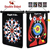 GIGGLE N GO Magnetic Dart Board Game - Our Reversible Rollup Kids Dart Board Set Includes 6 Safe Darts, 2 Dart Games and Easily Hangs Anywhere - Ultimate in Indoor Games