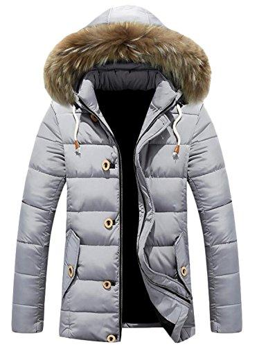 Mid Fashion US Hood EKU Gray Up Coat Zipper Down Fur Jacket XL Men's Long xawC5CqY